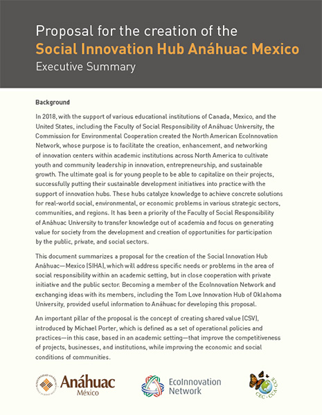 Proposal for the creation of the Social Innovation Hub Anáhuac Mexico