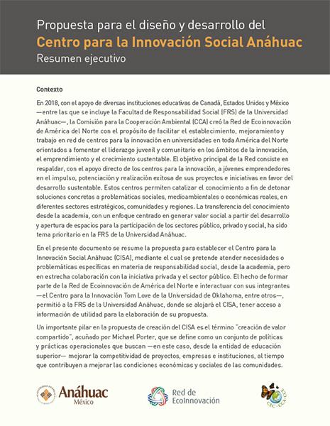 Propuesta para el diseño y desarrollo del Centro para la Innovación Social Anáhuac