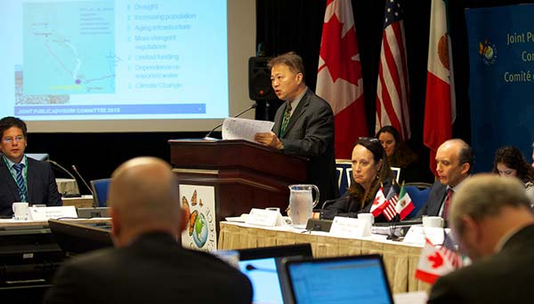 Speaker presenting findings before the Joint Public Advisory Committee